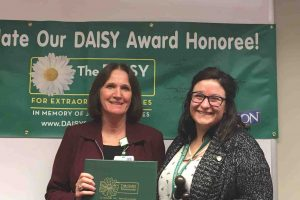 "In fall 2018, Desiree Thomas, RN received the DAISY Award an internationally-recognized honor for excellence in Nursing. Thomas was nominated three times by patients and one time by a former nursing student. Aspen Unit Manager Pat Walter presented the award and read the nomination letters. Here are two comments:  ""Have you ever met a person who brought light to your path when all you saw was darkness? Have you ever been brought peace by someone who is basically a stranger? Have you ever experienced or been served by someone who viewed their job not as a career but as a vocation? I have at the Aspen Unit, thanks to my nurse Desiree. Her passion for dealing with mental illness was beautiful to see and a gift in my life. She was very instrumental in my healing. I will forever be grateful for her helping me during the hardest time of my life."" - Former Patient  ""She is a very caring and loving nurse, always asked if she could help in any way. She also cared about my emotional and physical needs.""  - Former Patient"