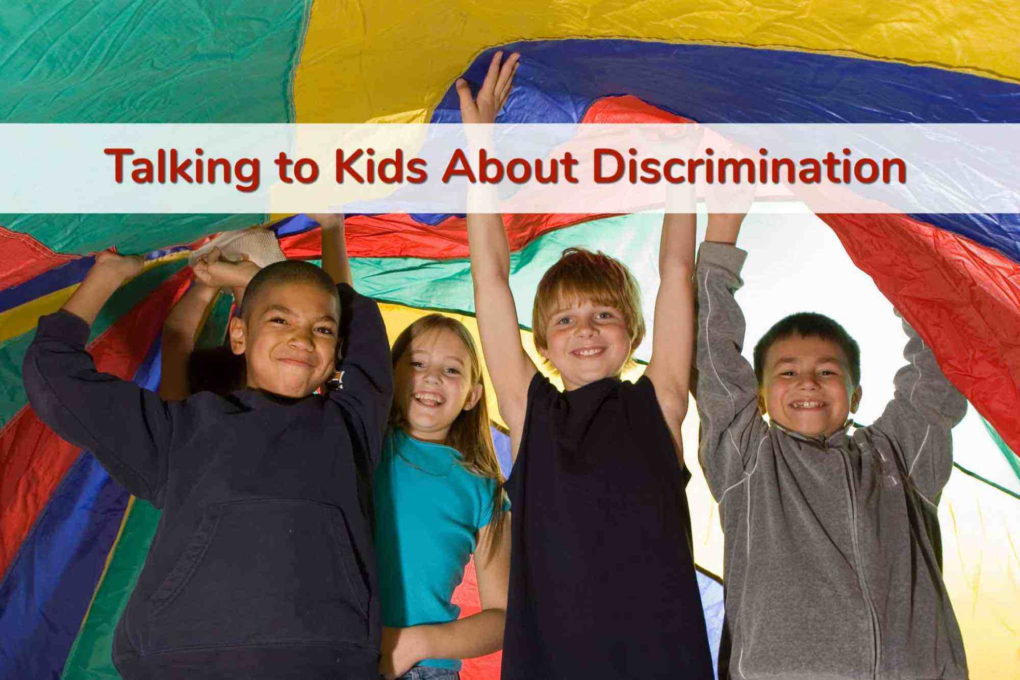 Diverse group of schoolkids holding up multi-colored parachute