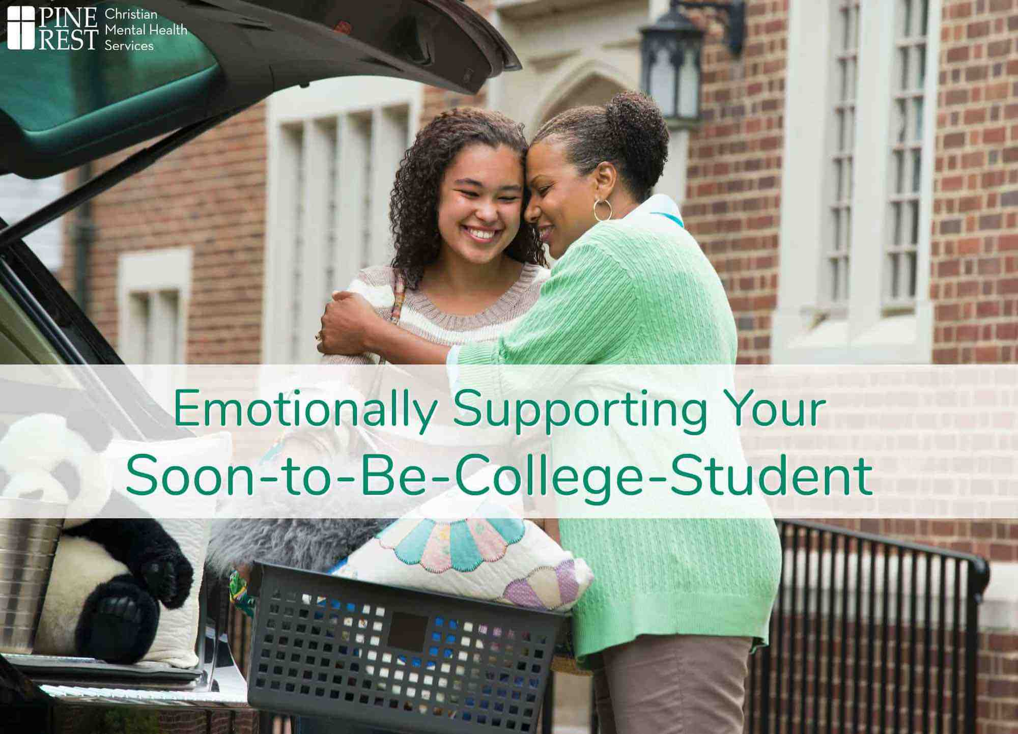 Mom hugging daughter at college drop off